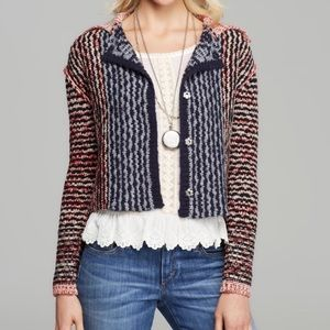 NWT Free People Crop Cardigan Sweater Red Combo
